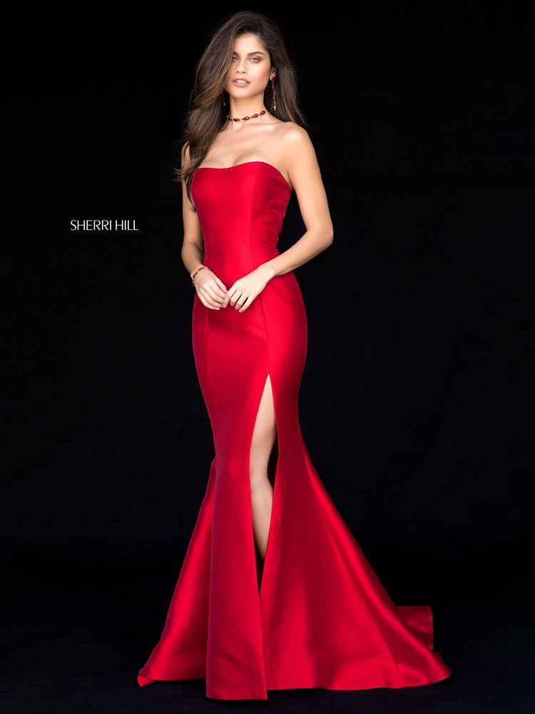 Strapless Satin Mermaid Gown With Side Slit