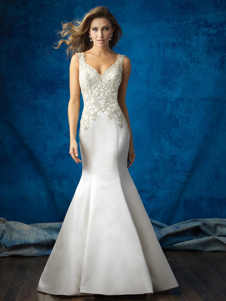 Beaded Satin Mermaid Gown