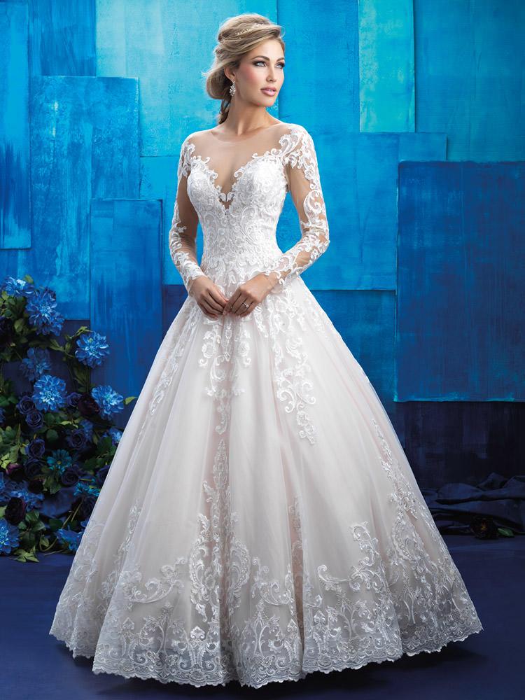 9e74865d74 Regal Non-Beaded Lace Bridal Ballgown Sheer Long Sleeves and Illusion  Neckline