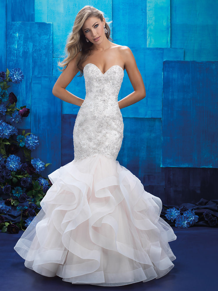 Form Fitted Wedding Dress Sparkling Strapless Bodice And Ruffled Organza