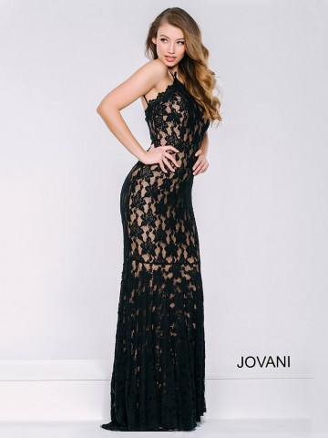 ef82254616 Jovani Comfortable Strappy Lace Slip Formal Dress Flounce Bottom