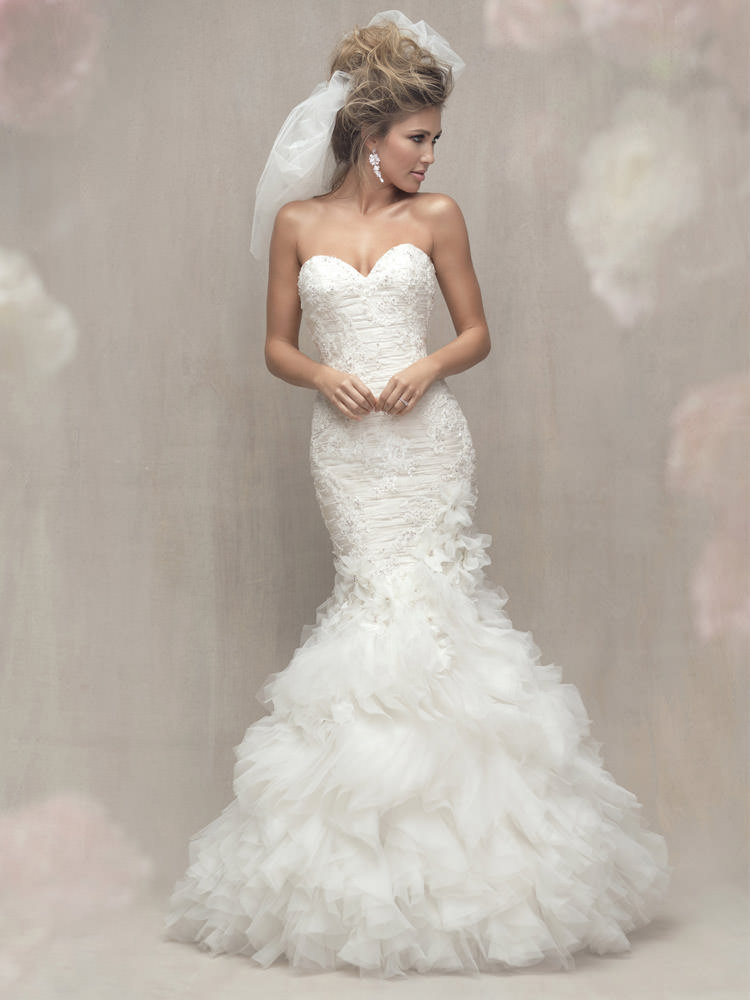 Form Fitted Bridal Gown With Multiple Textures And Dimensional Blossom Combination